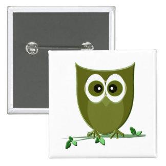 Cute Green Owl Digital Art Pins