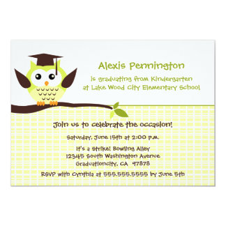Cute green owl elementary neutral graduation party cards