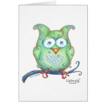 Cute green owl greeting card