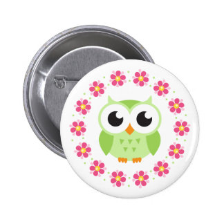 Cute green owl inside pink flower border 2 inch round button