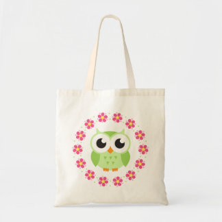 Cute green owl inside pink flower border budget tote bag