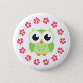 Cute green owl inside pink flower border pinback button