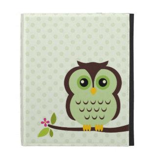 Cute Green Owl iPad Folio Cases