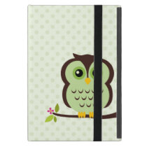Cute Green Owl iPad Mini Cover