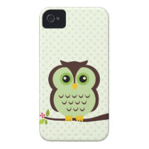 Cute Green Owl iPhone 4 Case-Mate Case