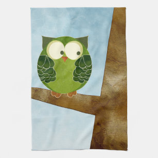 Owl Kitchen Hand Towels Zazzle