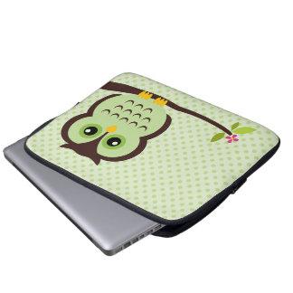 Cute Green Owl Laptop Sleeve
