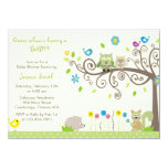 Cute Green Owl Neutral Baby Shower Invitations