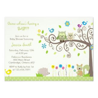 "Cute Green Owl Neutral Baby Shower Invitations 4.5"" X 6.25"" Invitation Card"