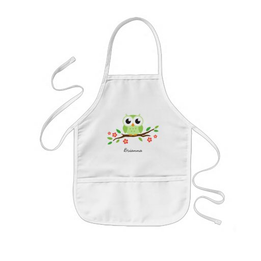 Cute green owl on floral branch personalized name apron
