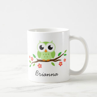 Cute green owl on floral branch personalized name coffee mug