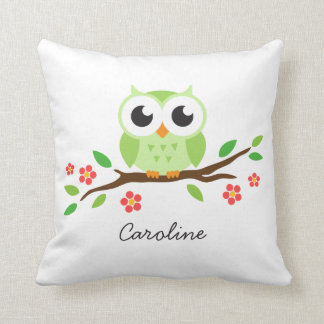 Cute green owl on floral branch personalized name throw pillow