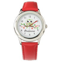 Cute green owl on floral branch watch
