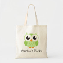 Cute green owl personalized library book tote bag