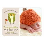 """Cute Green Owl Photo Birth Announcement 5"""" X 7"""" Invitation Card"""