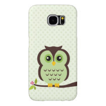 Cute Green Owl Samsung Galaxy S6 Case