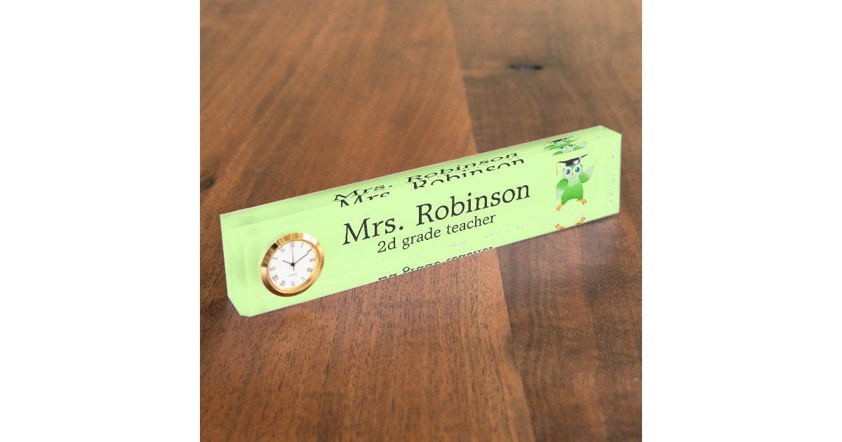 Cute Green Owl Teacher Customizable Name Plate Zazzle