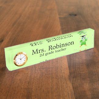 Cute Green Owl Teacher customizable Nameplates