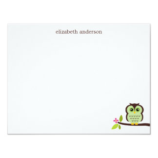 Cute Green Owl Thank You Notes Card