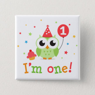 Cute, green owl with balloon and cupcake I am one Pinback Button