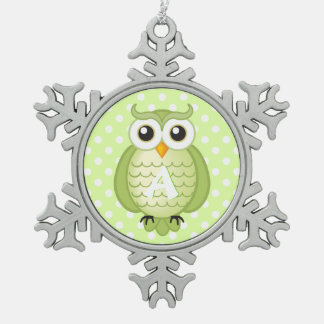 Cute Green Owl with Monogram Snowflake Pewter Christmas Ornament