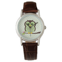 Cute Green Owl Wristwatch