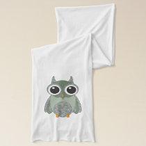 Cute Green Paisley  Pattern  Owl Scarf