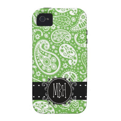 Cute Green Paisley with Personalization iPhone 4 Covers