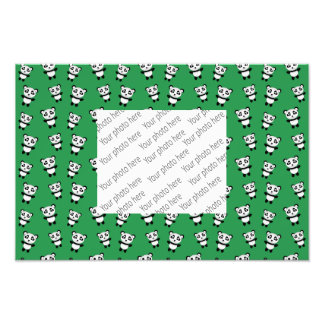 Cute green panda pattern art photo