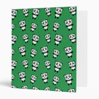 Cute green panda pattern binders