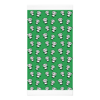 Cute green panda pattern photo card template