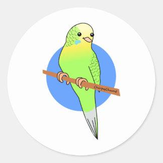Cute Green Parakeet Round Sticker
