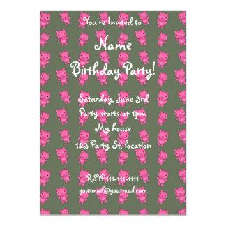 Cute green pig pattern 5x7 paper invitation card