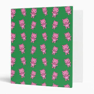 Cute green pig pattern binder