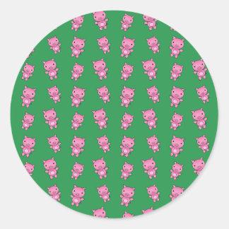 Cute green pig pattern classic round sticker