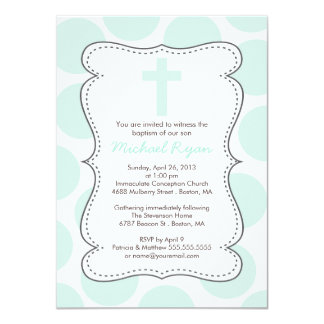 "Cute Green Polka Dots Cross Baptism Invitation 4.5"" X 6.25"" Invitation Card"