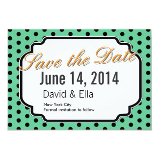 Cute Green Polka Dots Save the Date Cards