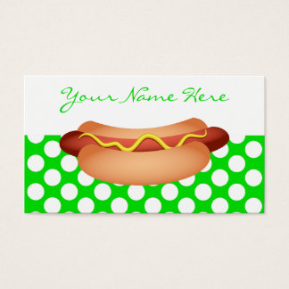 Cute Green Polka Dots & Tasty Hotdog Snack Design Business Card