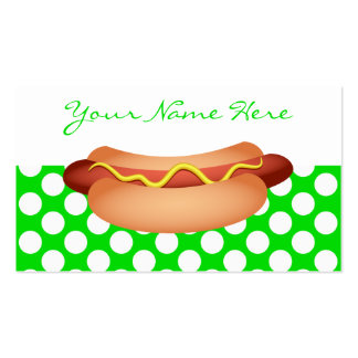 Cute Green Polka Dots & Tasty Hotdog Snack Design Double-Sided Standard Business Cards (Pack Of 100)