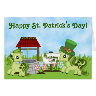 Cute Green Ponies Happy St. Patrick's Day Horse Card