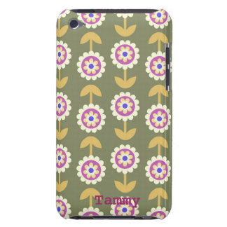 Cute Green & Purple Cartoon Flowers iPod Cover