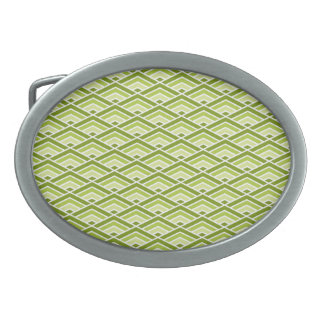 Cute Green Pyramid Pattern with Dots Oval Belt Buckle