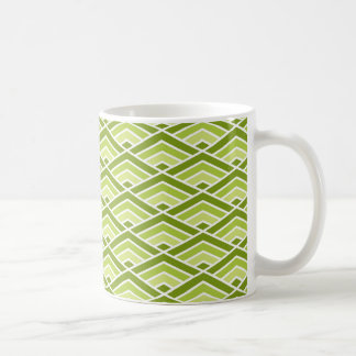 Cute Green Pyramid Pattern with Dots Coffee Mug
