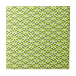 Cute Green Pyramid Pattern with Dots Tile
