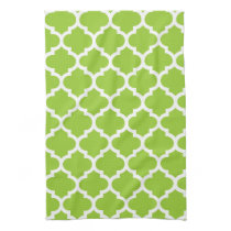cute green quatrefoil towels
