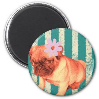 cute green retro stripes pug puppy fridge magnets