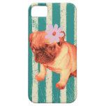 cute green retro stripes pug puppy iPhone 5 case