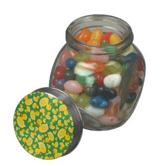 Cute green rubber ducks glass candy jar