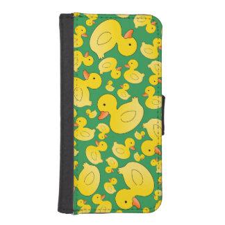 Cute green rubber ducks phone wallet case