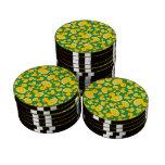 Cute green rubber ducks poker chips set